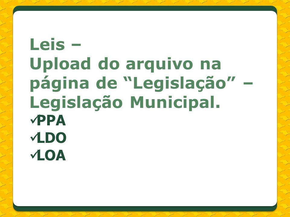 Leis – Upload do arquivo na página de Legislação – Legislação Municipal. PPA LDO LOA