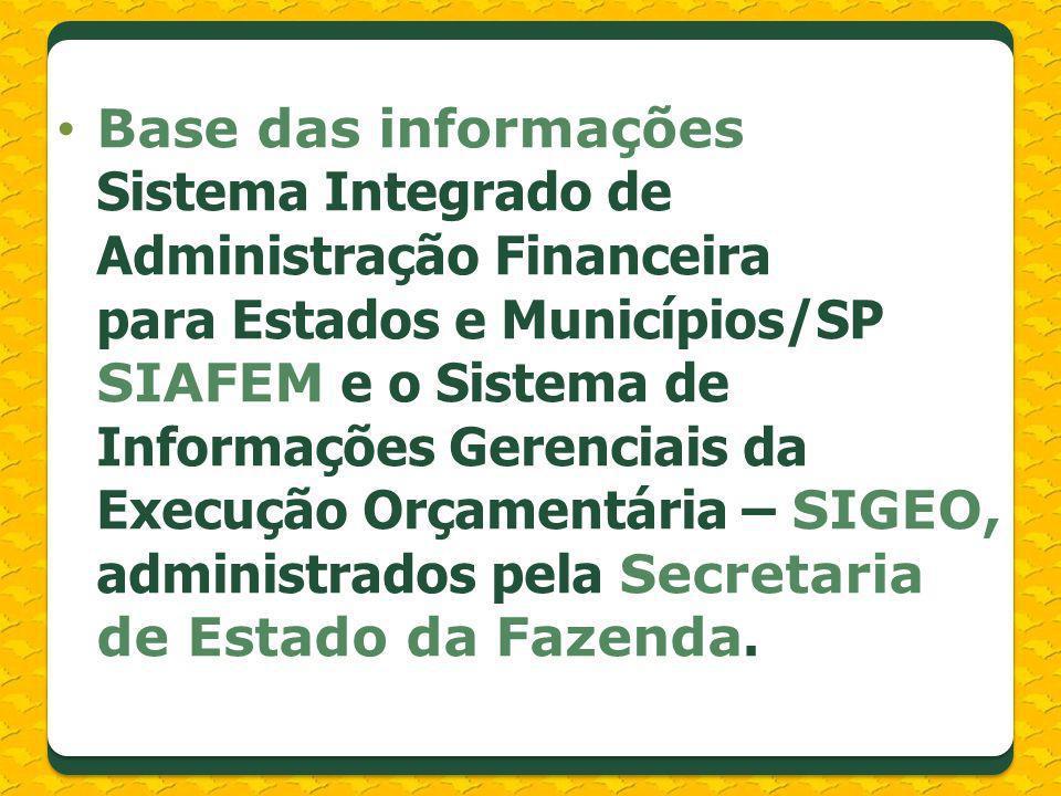 Base das informações Sistema Integrado de Administração Financeira para Estados e Municípios/SP SIAFEM e o Sistema de Informações Gerenciais da Execuç