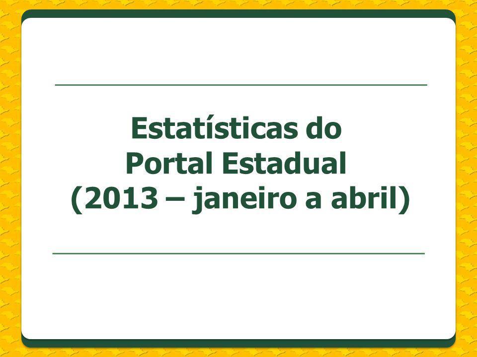 Estatísticas do Portal Estadual (2013 – janeiro a abril)