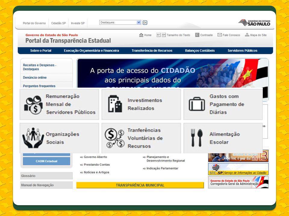 Foram também inseridos Links: –Organizações Sociais e respectivos contratos de gestão; – Governo Aberto, consulta aos inscritos no CADIN Estadual.