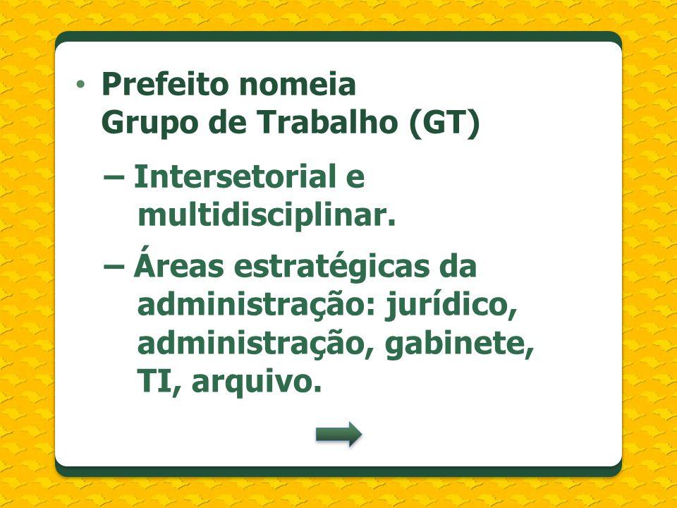Prefeito nomeia Grupo de Trabalho (GT) – Intersetorial e multidisciplinar. – Áreas estratégicas da administração: jurídico, administração, gabinete, T