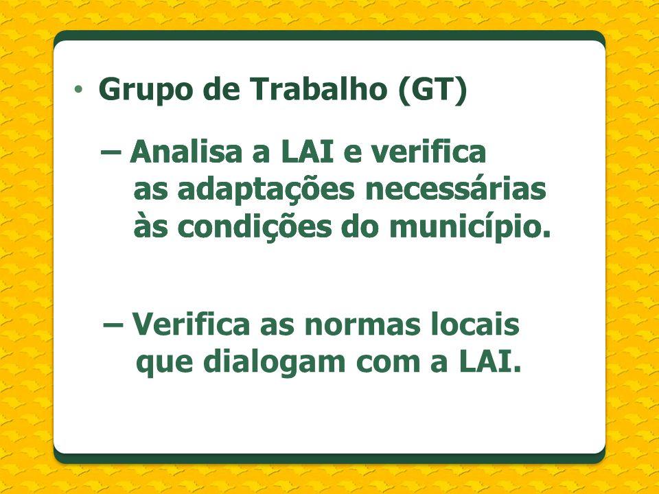 Grupo de Trabalho (GT) – Analisa a LAI e verifica as adaptações necessárias às condições do município. – Verifica as normas locais que dialogam com a