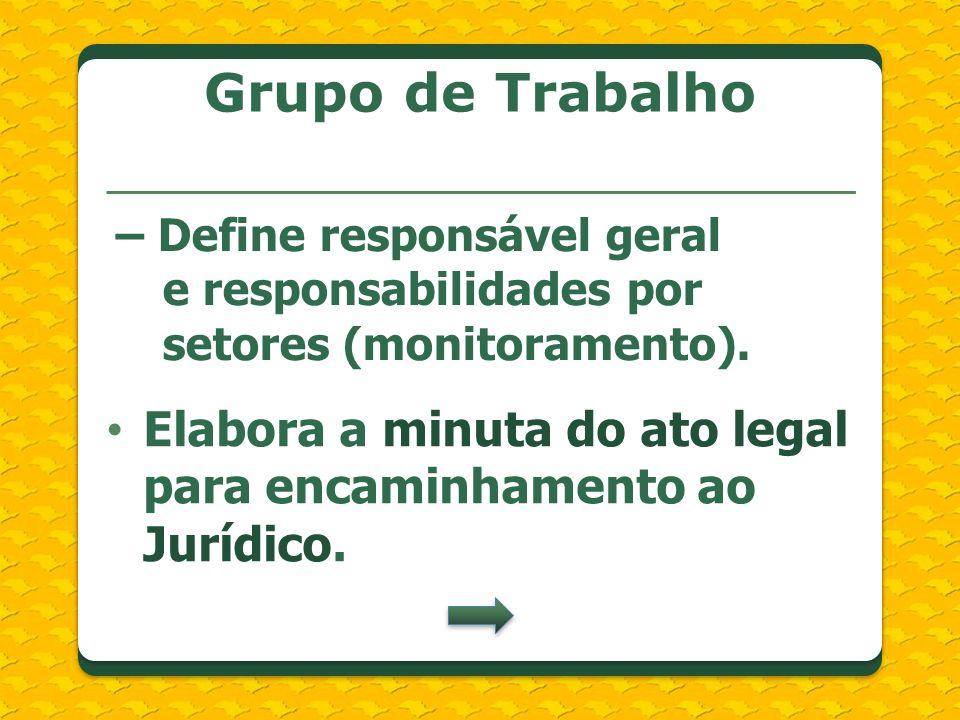 Grupo de Trabalho Elabora a minuta do ato legal para encaminhamento ao Jurídico. – Define responsável geral e responsabilidades por setores (monitoram