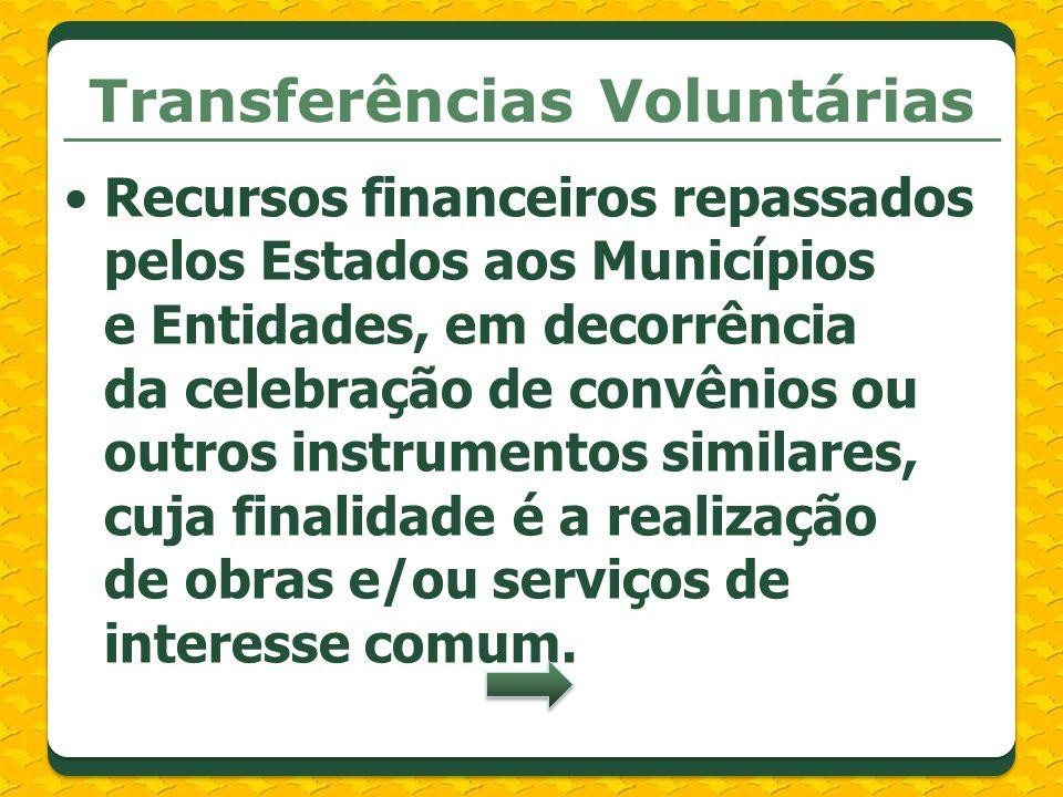 Transferências Voluntárias Recursos financeiros repassados pelos Estados aos Municípios e Entidades, em decorrência da celebração de convênios ou outr