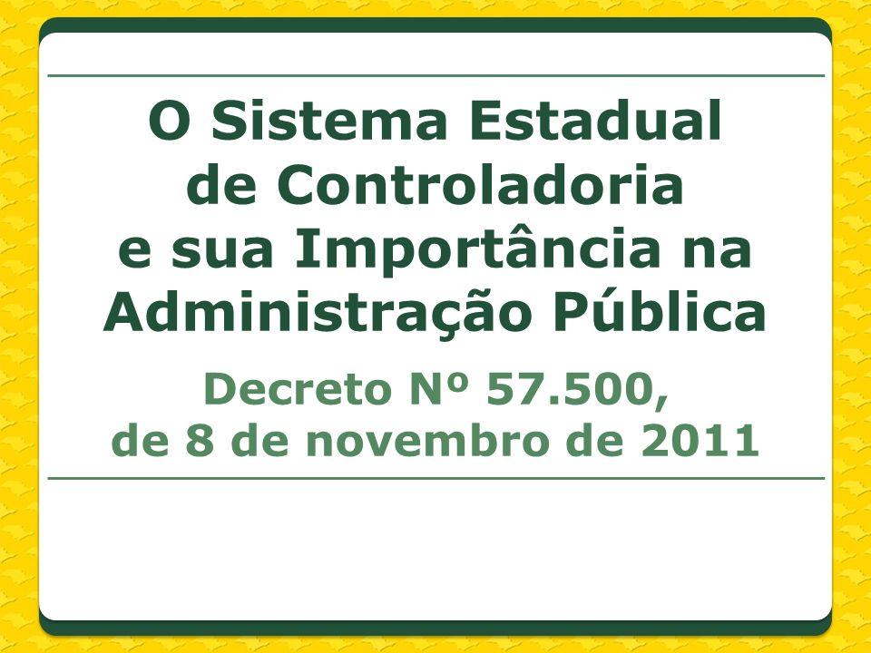 Decreto Nº 57.500, de 8 de novembro de 2011 O Sistema Estadual de Controladoria e sua Importância na Administração Pública