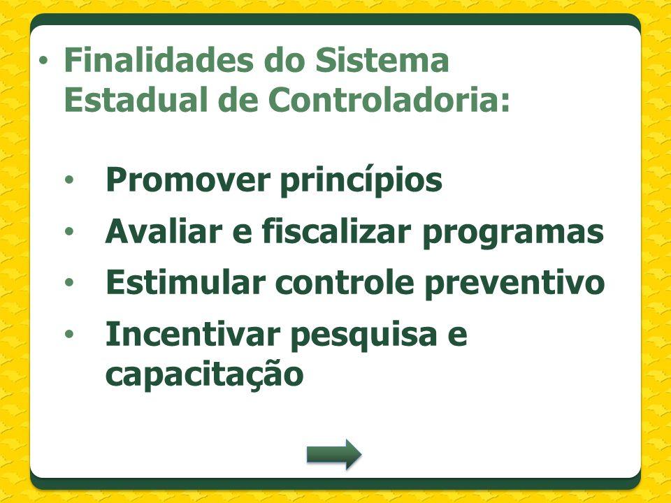Finalidades do Sistema Estadual de Controladoria: Promover princípios Avaliar e fiscalizar programas Estimular controle preventivo Incentivar pesquisa