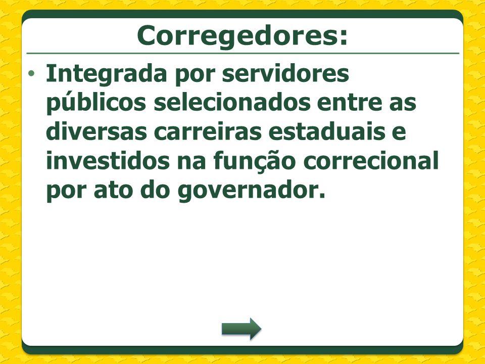 Corregedores: Integrada por servidores públicos selecionados entre as diversas carreiras estaduais e investidos na função correcional por ato do gover
