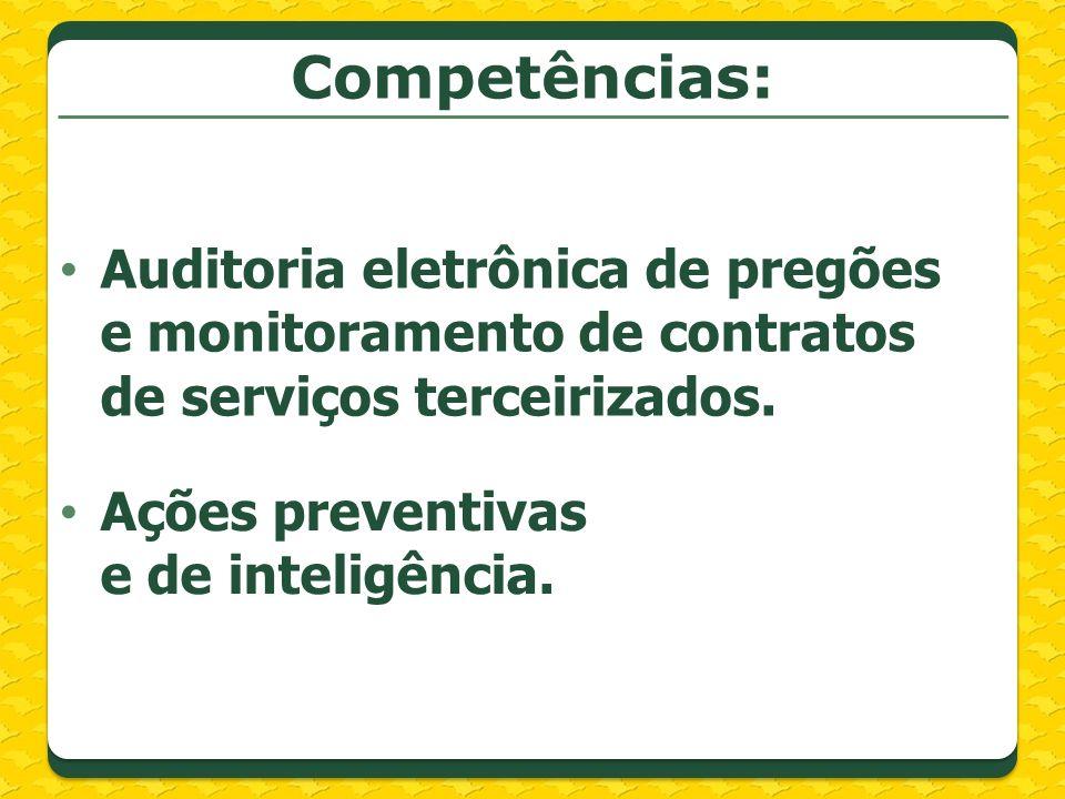 Competências: Auditoria eletrônica de pregões e monitoramento de contratos de serviços terceirizados. Ações preventivas e de inteligência.