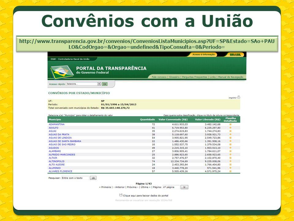 http://www.transparencia.gov.br/convenios/ConveniosListaMunicipios.asp?UF=SP&Estado=SAo+PAU LO&CodOrgao=&Orgao=undefined&TipoConsulta=0&Periodo= Convê