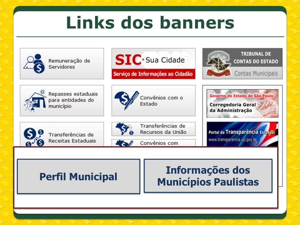 Links dos banners Perfil Municipal Informações dos Municípios Paulistas