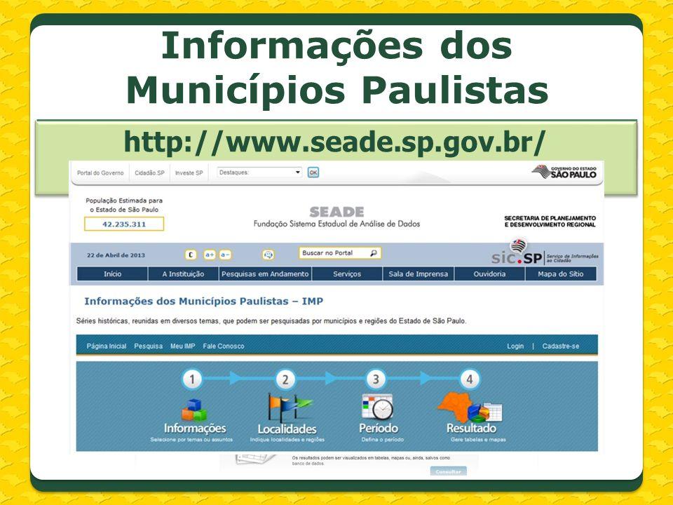 Informações dos Municípios Paulistas http://www.seade.sp.gov.br/produtos/imp