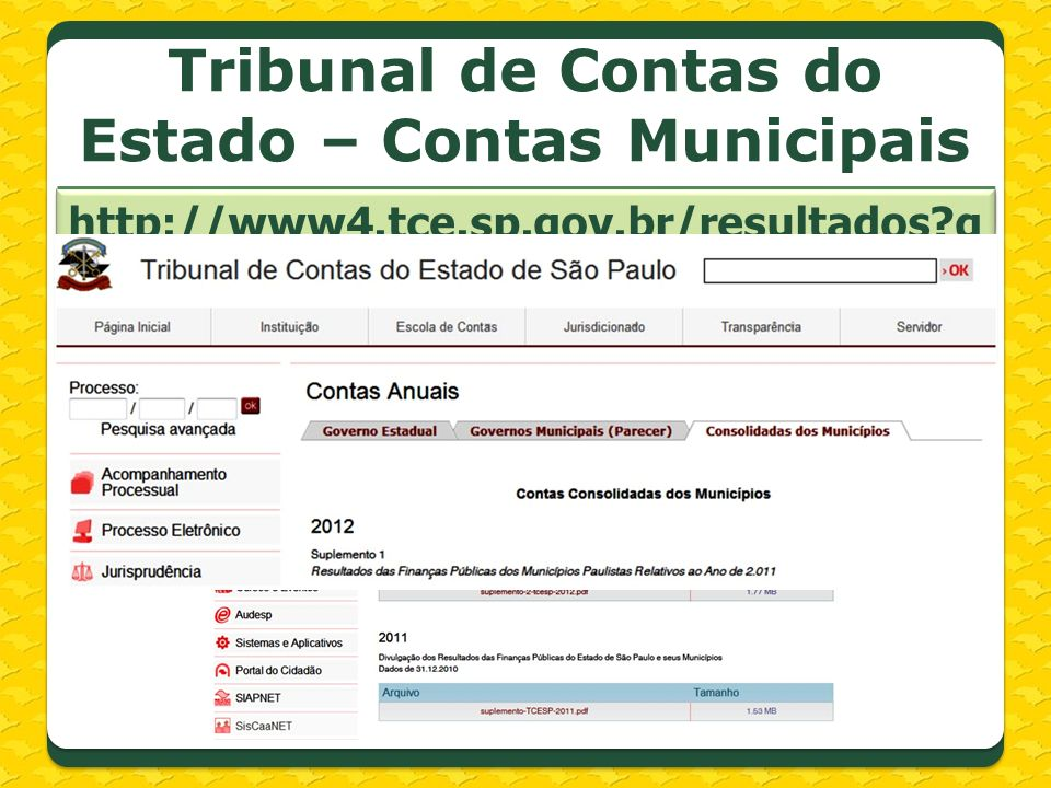 Tribunal de Contas do Estado – Contas Municipais http://www4.tce.sp.gov.br/resultados?quicktabs_contasgov=2#quicktabs-contasgov