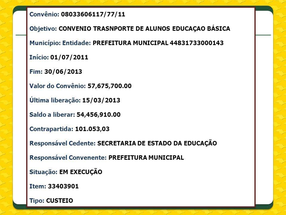 Convênio: 08033606117/77/11 Objetivo: CONVENIO TRASNPORTE DE ALUNOS EDUCAÇAO BÁSICA Município: Entidade: PREFEITURA MUNICIPAL 44831733000143 Início: 0