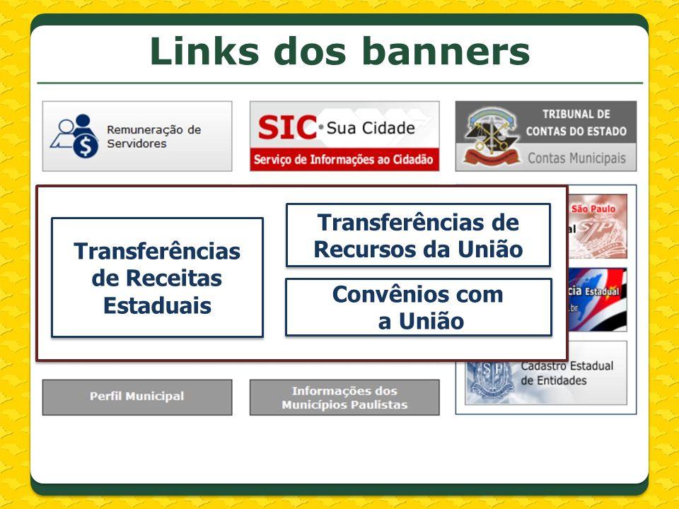 http://www.transparencia.gov.br/PortalTransparenciaListaCidades.asp?Exercicio=2013&SelecaoUF=1 &SiglaUF=SP&NomeUf=S%C3O%20PAULO Transferências de Recursos da União