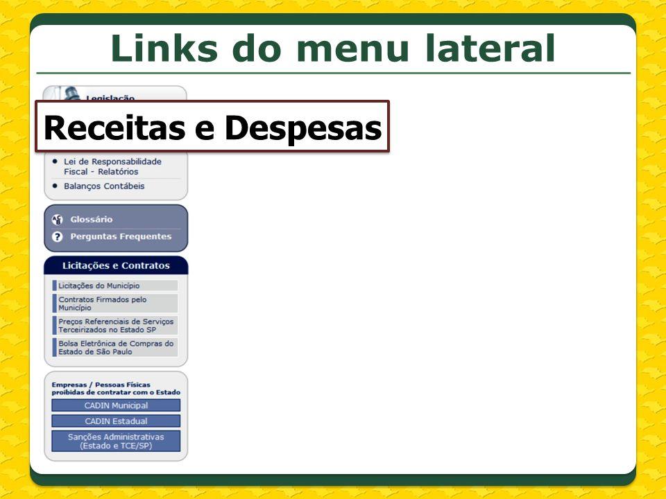 Links do menu lateral Receitas e Despesas
