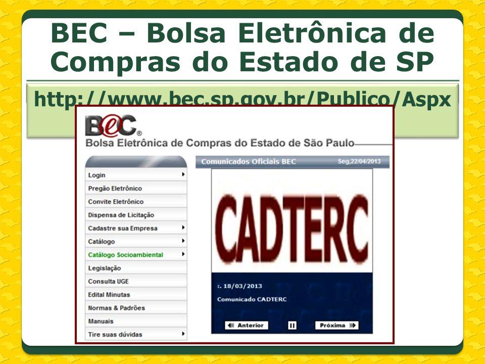 BEC – Bolsa Eletrônica de Compras do Estado de SP http://www.bec.sp.gov.br/Publico/Aspx/Home.aspx