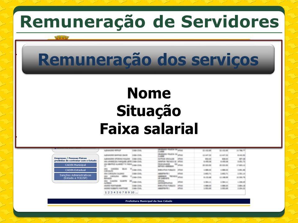 Campos que c ontem asterisco são de Campos que c ontem asterisco são de Remuneração dos serviços Nome Situação Faixa salarial