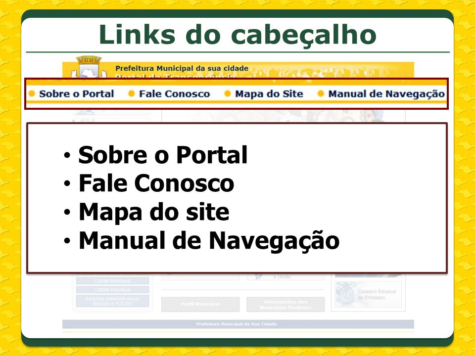 Links do menu lateral
