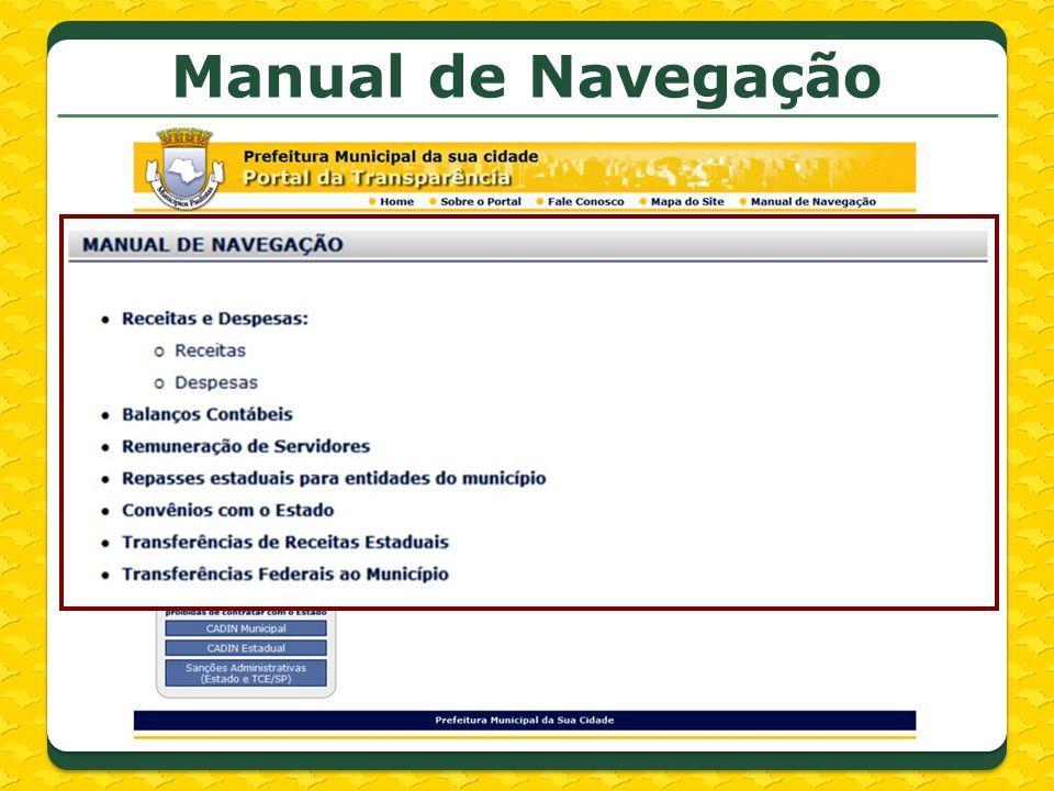 Links do menu lateral Legislação