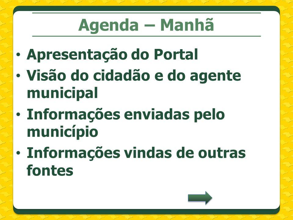 Agenda – Manhã Apresentação do Portal Visão do cidadão e do agente municipal Informações enviadas pelo município Informações vindas de outras fontes