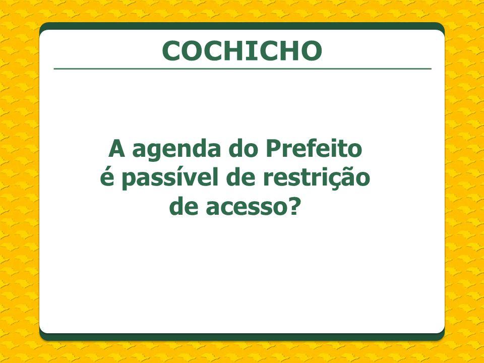 COCHICHO A agenda do Prefeito é passível de restrição de acesso?
