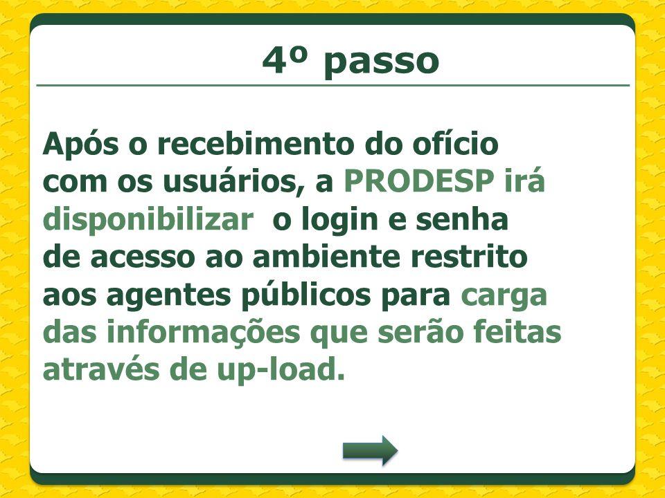 4º passo Após o recebimento do ofício com os usuários, a PRODESP irá disponibilizar o login e senha de acesso ao ambiente restrito aos agentes público