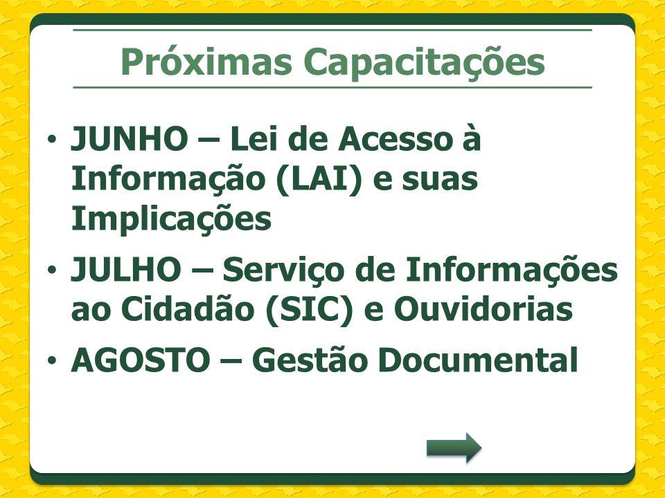 Próximas Capacitações JUNHO – Lei de Acesso à Informação (LAI) e suas Implicações JULHO – Serviço de Informações ao Cidadão (SIC) e Ouvidorias AGOSTO – Gestão Documental