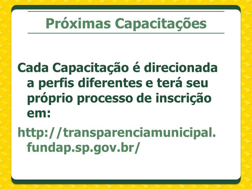 Próximas Capacitações Cada Capacitação é direcionada a perfis diferentes e terá seu próprio processo de inscrição em: http://transparenciamunicipal.