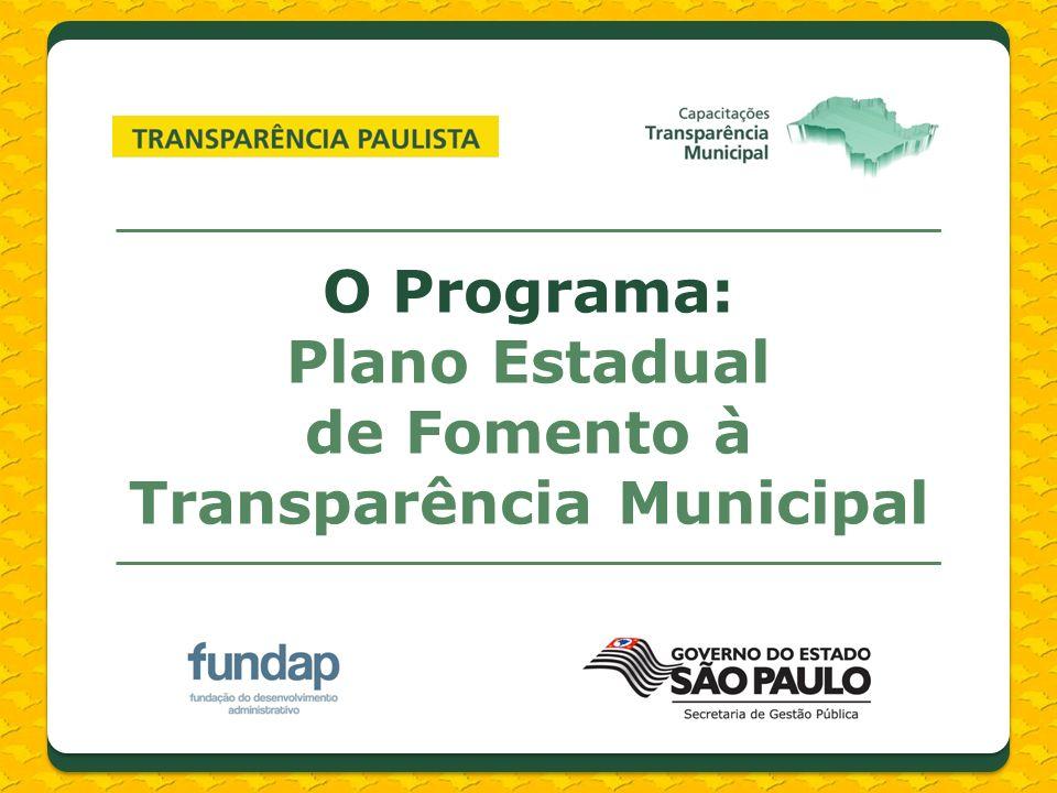 O Programa: Plano Estadual de Fomento à Transparência Municipal