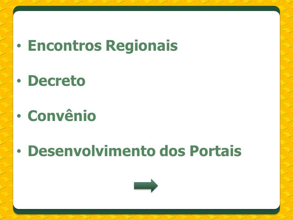 Encontros Regionais Decreto Convênio Desenvolvimento dos Portais