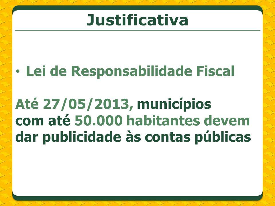 Lei de Responsabilidade Fiscal Até 27/05/2013, municípios com até 50.000 habitantes devem dar publicidade às contas públicas
