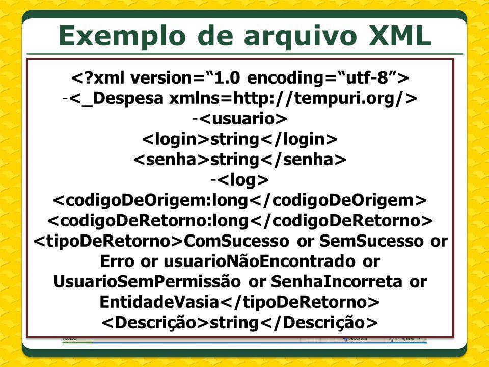 Exemplo de arquivo XML - string - ComSucesso or SemSucesso or Erro or usuarioNãoEncontrado or UsuarioSemPermissão or SenhaIncorreta or EntidadeVasia s