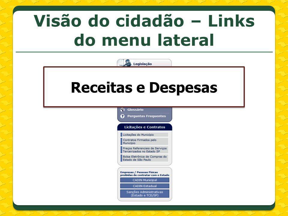 Visão do cidadão – Links do menu lateral Receitas e Despesas