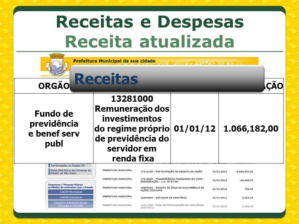 Receitas e Despesas Receita atualizada ORGÃOALINEAREFARRECADAÇÃO Fundo de previdência e benef serv publ 13281000 Remuneração dos investimentos do regi