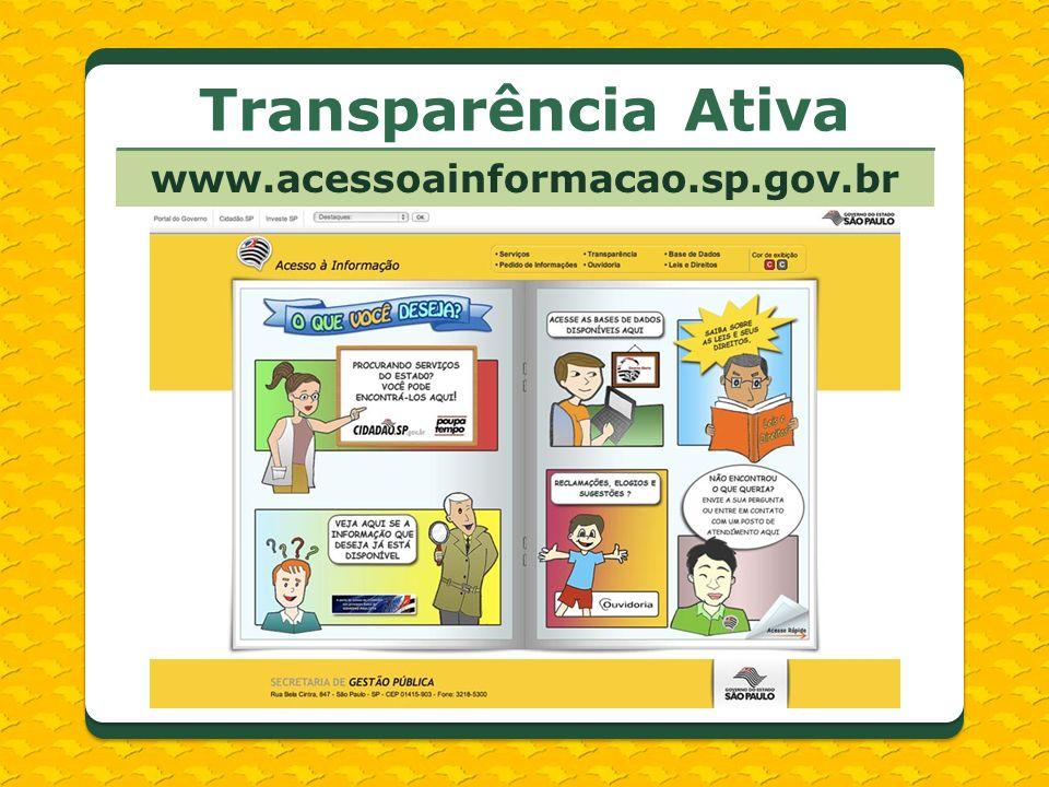www.acessoainformacao.sp.gov.br Transparência Ativa