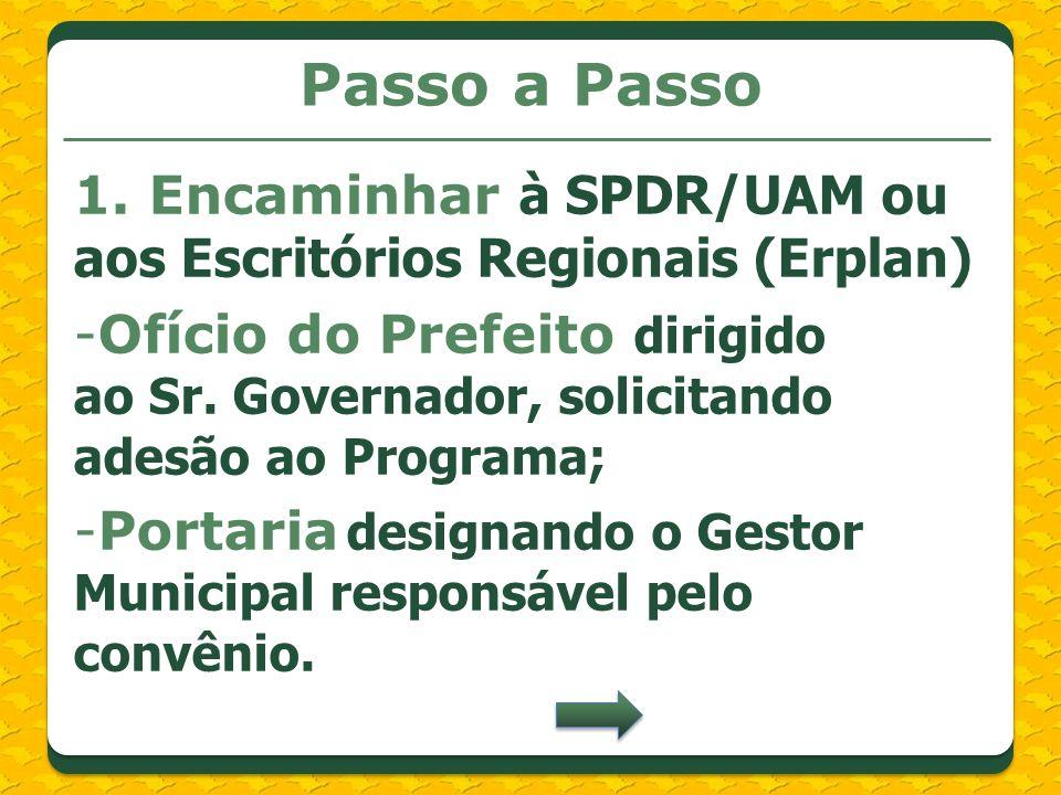 Passo a Passo 1. Encaminhar à SPDR/UAM ou aos Escritórios Regionais (Erplan) -Ofício do Prefeito dirigido ao Sr. Governador, solicitando adesão ao Pro