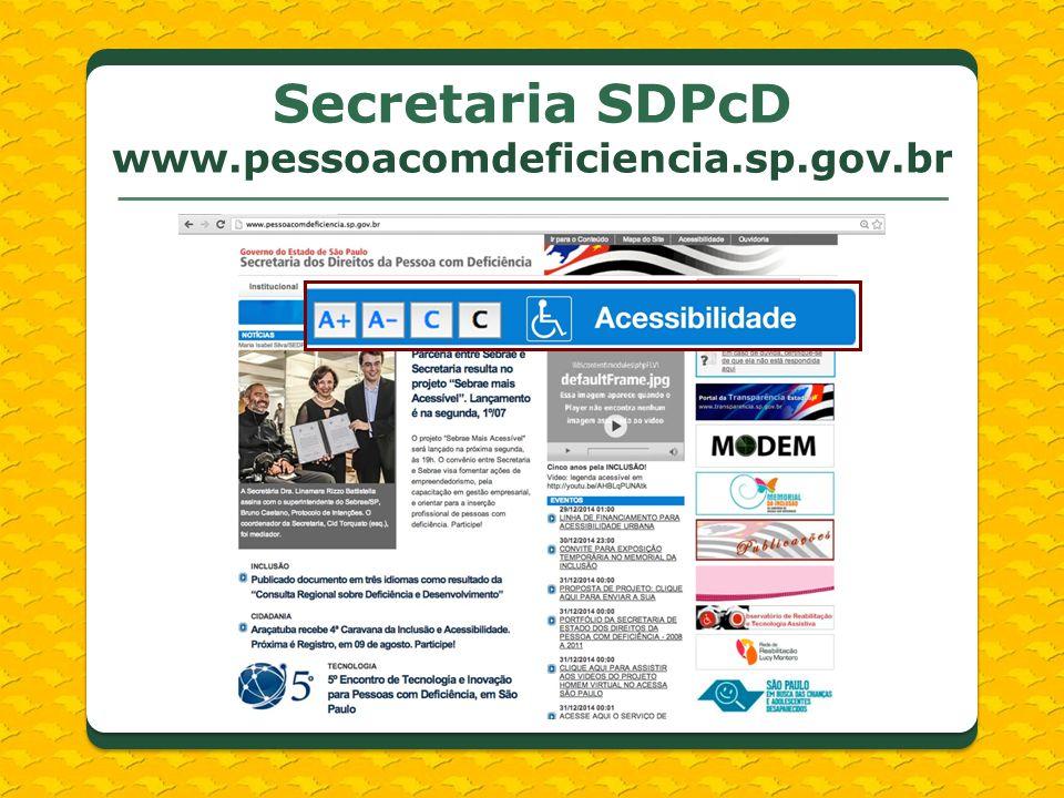 Secretaria SDPcD www.pessoacomdeficiencia.sp.gov.br