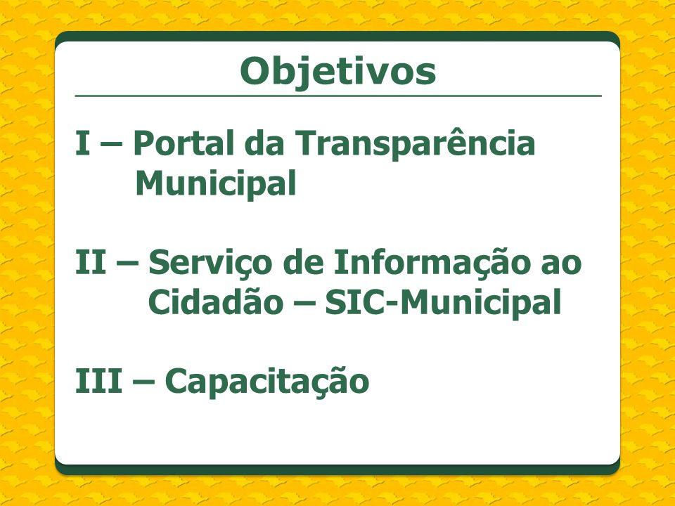 Objetivos I – Portal da Transparência Municipal II – Serviço de Informação ao Cidadão – SIC-Municipal III – Capacitação