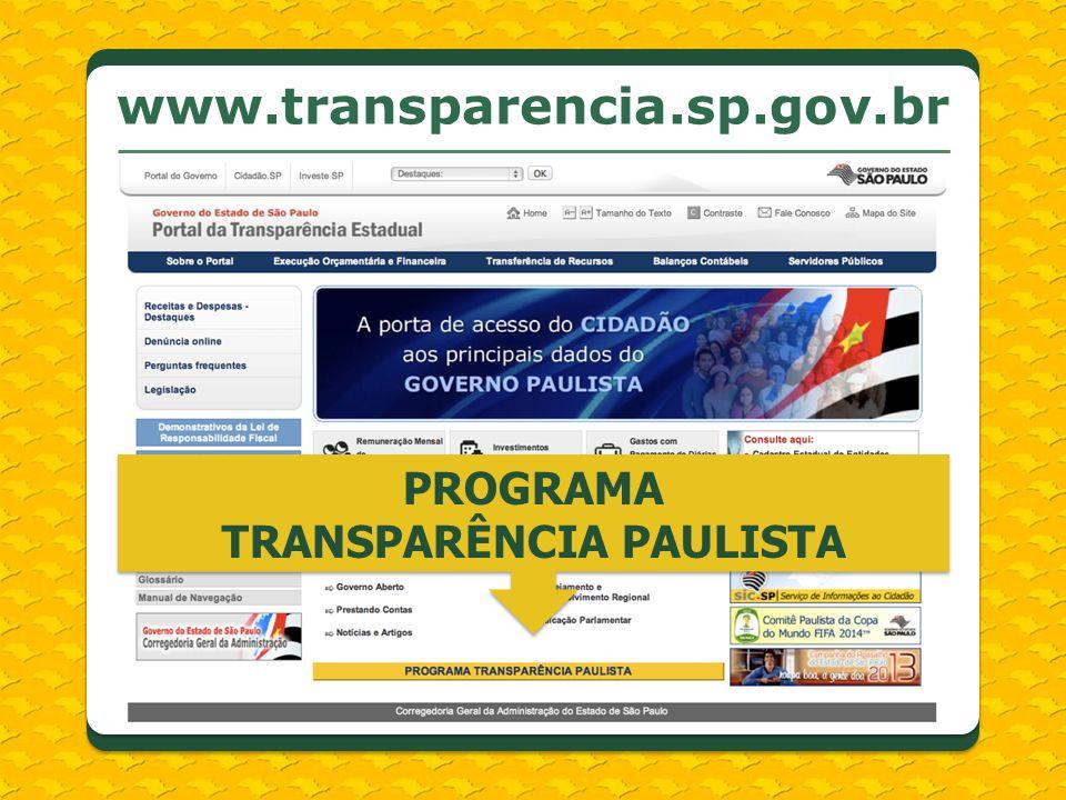 www.transparencia.sp.gov.br PROGRAMA TRANSPARÊNCIA PAULISTA
