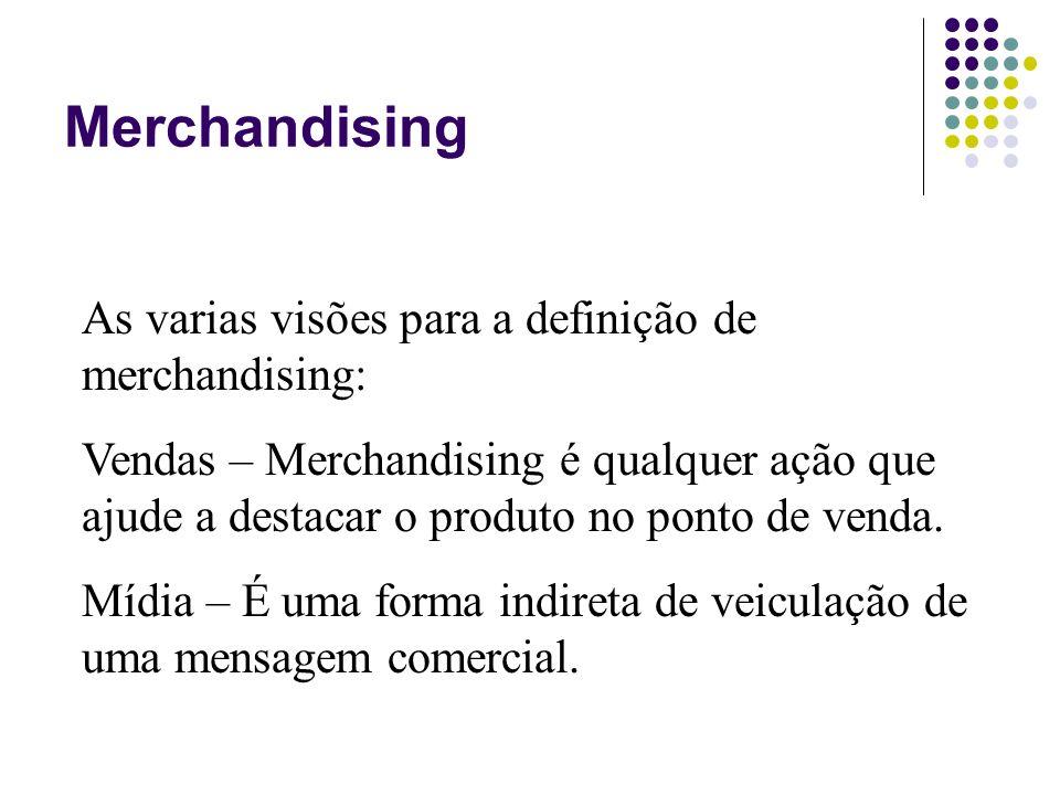 Merchandising As varias visões para a definição de merchandising: Vendas – Merchandising é qualquer ação que ajude a destacar o produto no ponto de ve
