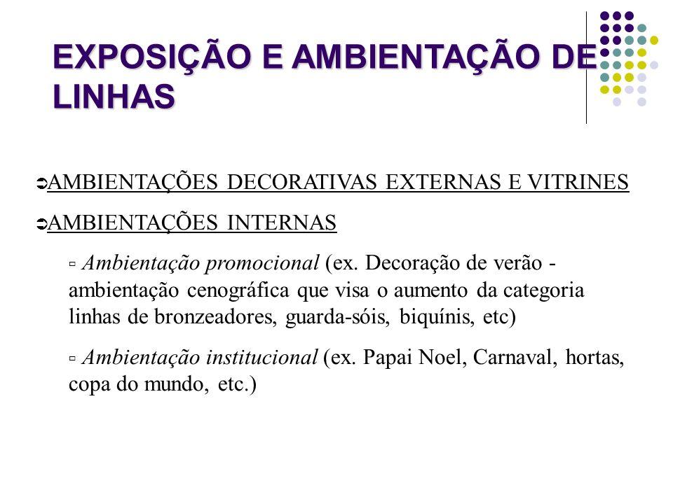 EXPOSIÇÃO E AMBIENTAÇÃO DE LINHAS AMBIENTAÇÕES DECORATIVAS EXTERNAS E VITRINES AMBIENTAÇÕES INTERNAS Ambientação promocional (ex. Decoração de verão -