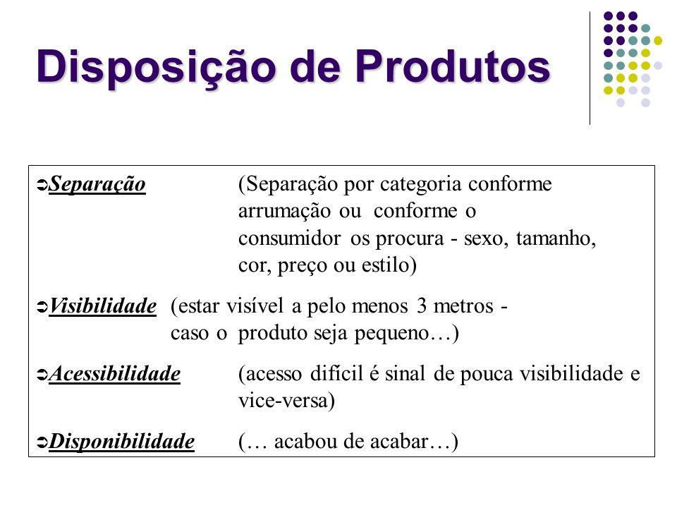 Disposição de Produtos Separação (Separação por categoria conforme arrumação ou conforme o consumidor os procura - sexo, tamanho, cor, preço ou estilo