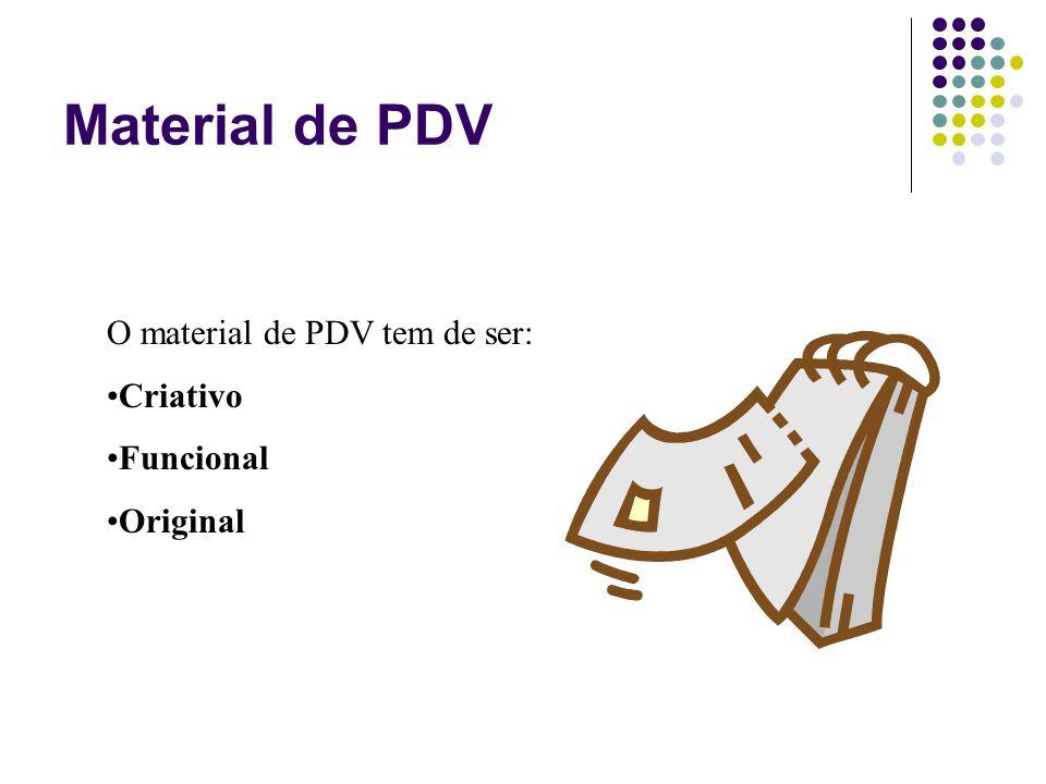 O material de PDV tem de ser: Criativo Funcional Original