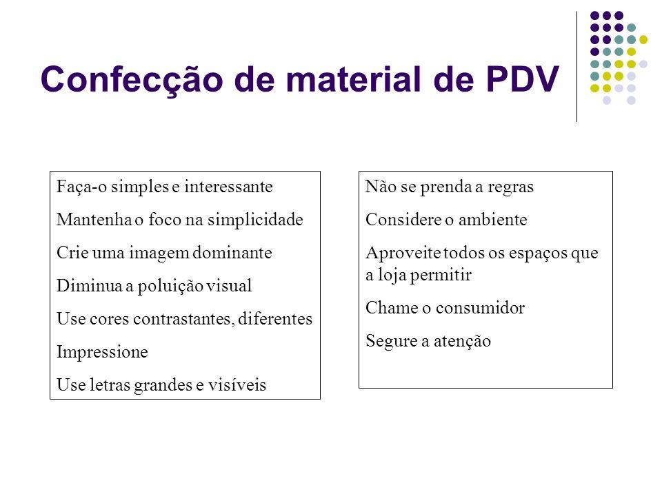 Confecção de material de PDV Faça-o simples e interessante Mantenha o foco na simplicidade Crie uma imagem dominante Diminua a poluição visual Use cor