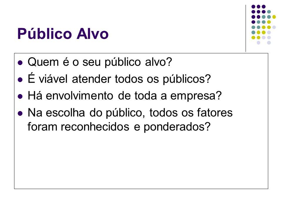 Público Alvo Quem é o seu público alvo? É viável atender todos os públicos? Há envolvimento de toda a empresa? Na escolha do público, todos os fatores