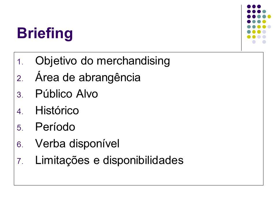 Briefing 1. Objetivo do merchandising 2. Área de abrangência 3. Público Alvo 4. Histórico 5. Período 6. Verba disponível 7. Limitações e disponibilida