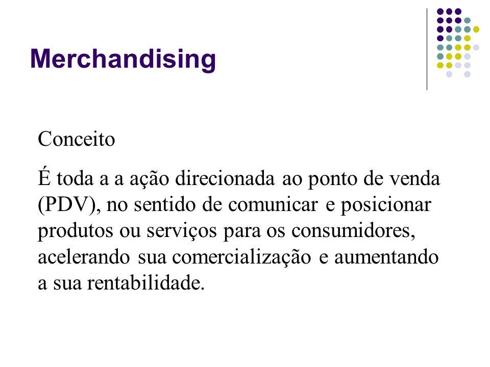 Merchandising Conceito É toda a a ação direcionada ao ponto de venda (PDV), no sentido de comunicar e posicionar produtos ou serviços para os consumid