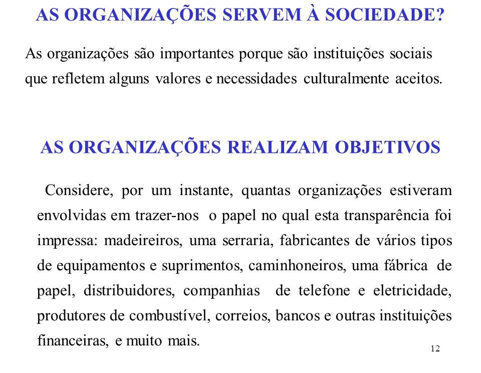 12 As organizações são importantes porque são instituições sociais que refletem alguns valores e necessidades culturalmente aceitos.