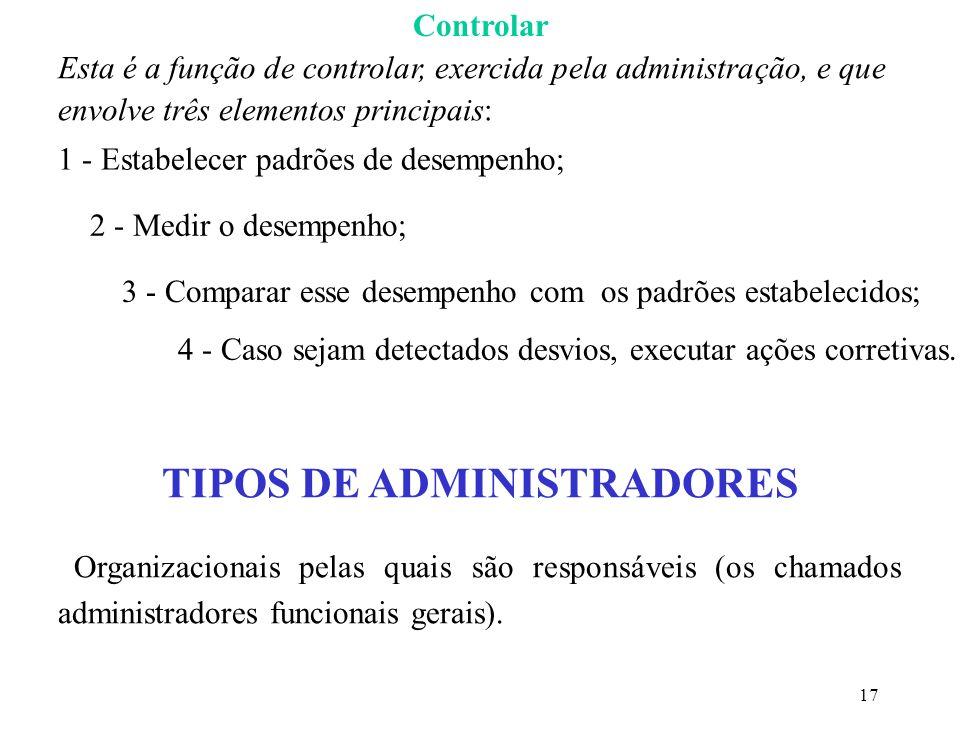 18 NÍVEIS DA ADMINISTRAÇÃO Gerentes de Primeira Linha (ou de primeiro nível) Gerentes responsáveis apenas pelo trabalho de empregados operacionais, não supervisionam outros administradores; são o primeiro nível (ou o mais baixo) dos gerentes na hierarquia organizacional.