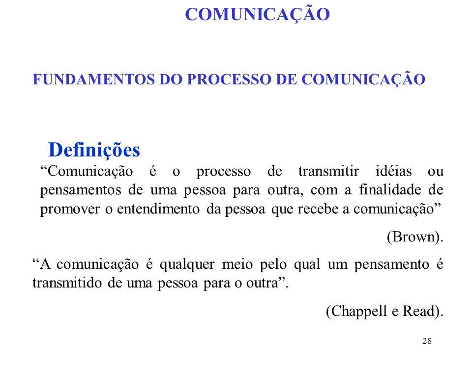 28 FUNDAMENTOS DO PROCESSO DE COMUNICAÇÃO Comunicação é o processo de transmitir idéias ou pensamentos de uma pessoa para outra, com a finalidade de promover o entendimento da pessoa que recebe a comunicação (Brown).